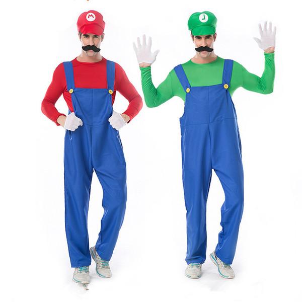 Süper Mario Bros Kostüm Karnaval Klasik Konsol Oyunu Rolü Luigi Parti Kıyafetleri Tulum Karikatür Cosplay Üniforma