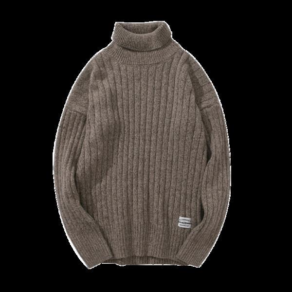 2018 Invierno de los hombres Nuevo suéter delgado de cuello alto Línea de base Hombre Espesar Tops Color sólido Adolescente Twist Cuello alto Calle Suéter