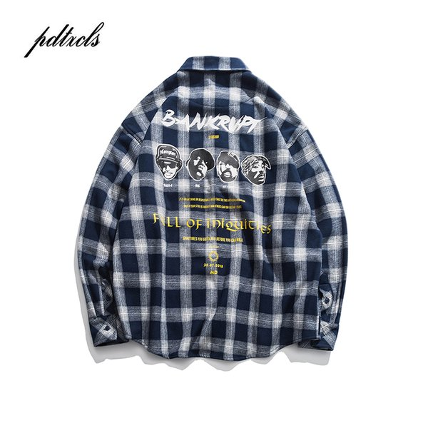 Japanese Style MD-LONG Street Fashionable Thick Pattern Printed Men's Long Sleeve Shirts Hip Hop Autumn Male Full Casual Shirts