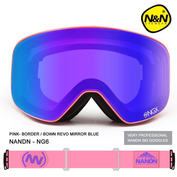 Nuovi occhiali da sci di marca NANDN Occhiali da sci Doppia lente UV400 Anti-fog Adulto Snowboard Occhiali da sci Donna Uomo Occhiali da neve