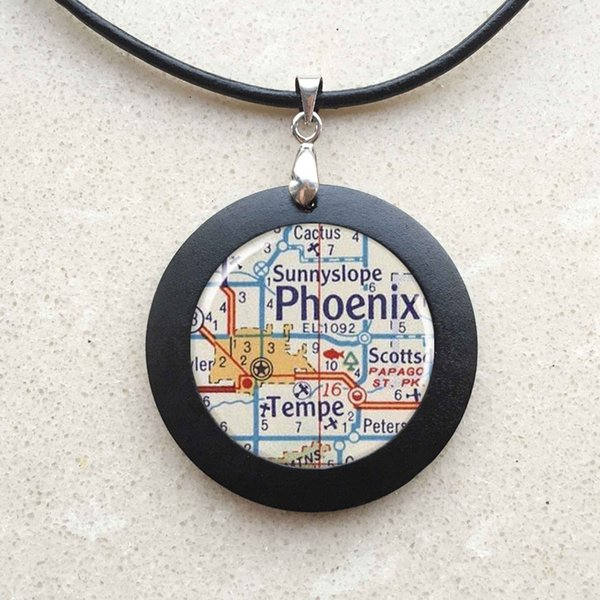 Phoenix Map Necklace Resin Charm Round Silver Color Map Charm Pendant Charm Phoenix Arizona Map Jewelry