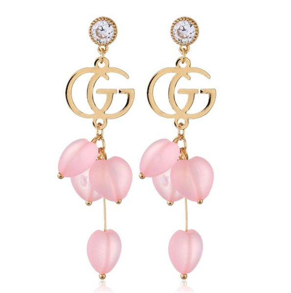 Candy color love zircon earrings hypoallergenic handmade letter earrings