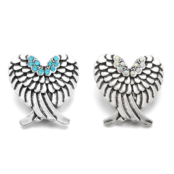 10pcs/lot New Crystal Angel Wings Snap Jewelry Rhinestone Snap Fit 18mm Snap Buttons Charms Bracelet
