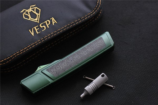 Ripper VESPA di alta qualità, Lama: M390 (Satinato) Manico: 7075 alluminio + CF, sopravvivenza esterna EDC Coltello da cucina tattico strumento coltello da cucina Coltello automatico