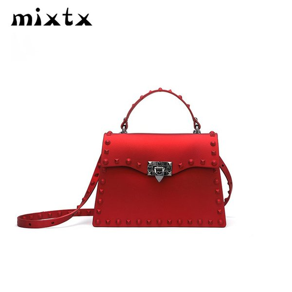 mixtx 2018 Women Fashion Matte Rivet Handbag Jelly Crossbody TPU Tote High Quality Female Brand Luxury Messenger Shoulder Bag