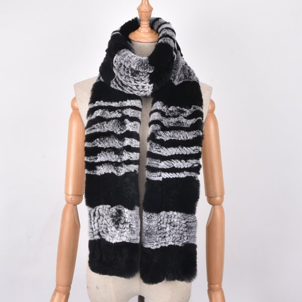 Fashion Men's Scarves Winter Warm Knit Natural Rex Rabbit Fur Scarf Men Winter Real Fur Scarves Wraps For Men Dad Scarf