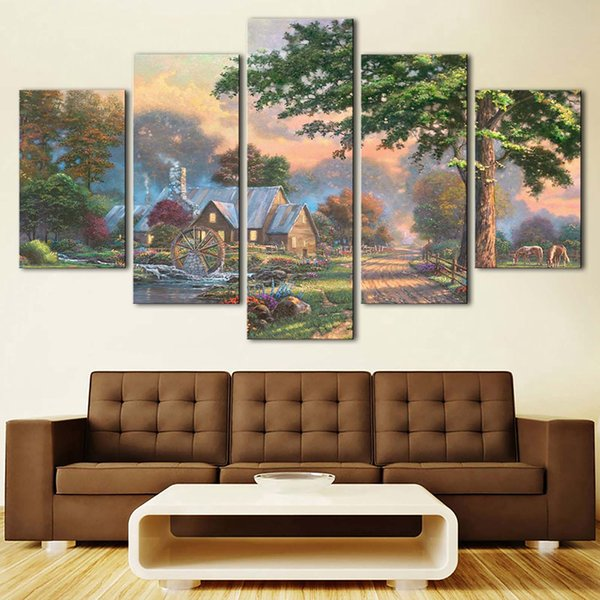 HD Prints Decoration Modern Wall 5 Pieces Water Turns Windmills House Trees Landscape Picture Art Canvas Painting Modular Poster