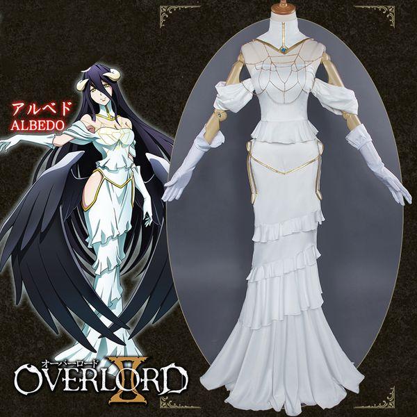 Albedo Cosplay Anime Overlord Vestido Branco Traje Mulheres Overlord Albedo Cosplay Halloween Christamas