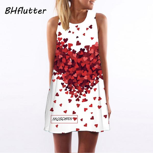 BHflutter Vestidos 2018 New Style Summer Dress Sleeveless Hearts Print Casual Women Dress Above Knee Women Short Beach Dresses