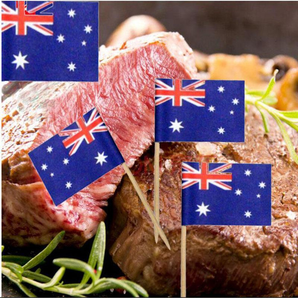 Mini Flags Paper Food Picks Toothpicks UK Australia American Flag Cupcake Decoration Fruit Cocktail Sticks Pretty Party Supplies