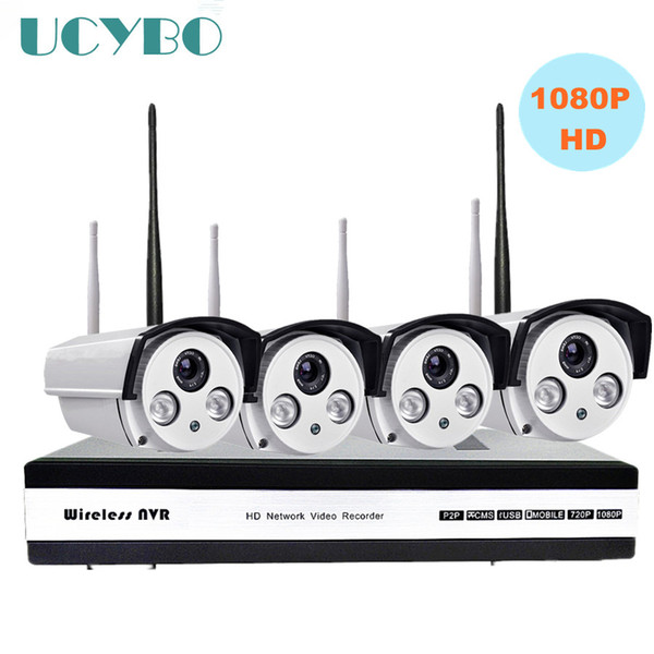 4ch 1080P HD Wireless IP Camera NVR CCTV security System 2mp wi-fi NVR kit Outdoor IR Wifi P2P IP Camera surveillance system