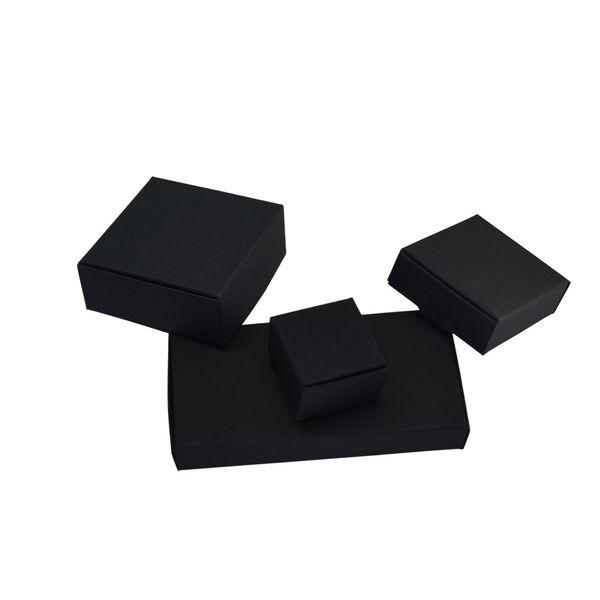50 adet / grup Düğün Hediye Paketi Siyah Kraft Kağıt Kutusu Için Toptan Katlanabilir Yumuşak Karton Kağıt Kutusu Noel Takı Bakkal Mum Paketi
