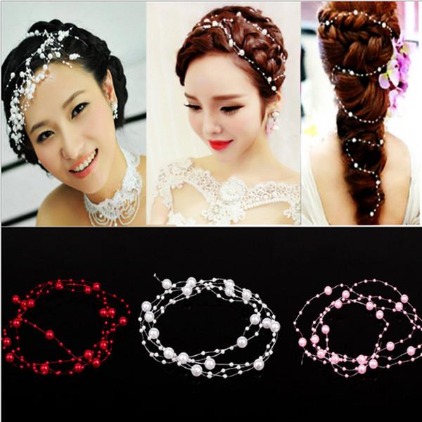 2018 Red/White/Pink/Purple Pearls Crystal Headbands Wedding Hair Accessories Bridal Hair Vine Tiara Headpieces Diamante Hair Jewelry