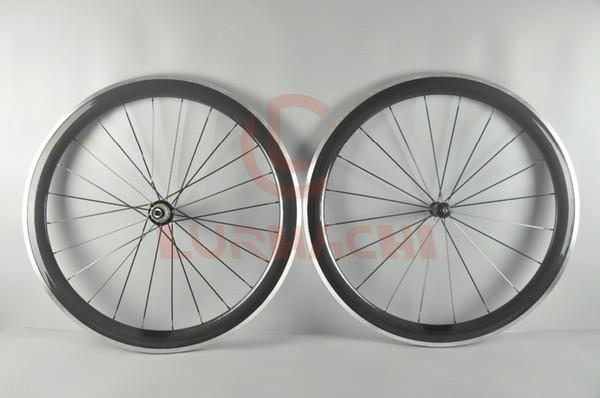 LURHACHI 50 mm de fibra de carbono + llantas de aleación 700C 3K / UD cubierta / tubular de carbono + aleación de ruedas de bicicleta de carretera 10/11 velocidad 20/24 orificios