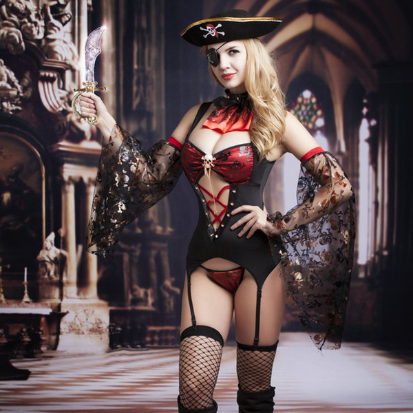 Costumi pirata dei caraibi di alta qualità per le donne Erotic Sexy Lingerie Pirate Cosplay sexy costumi di Halloween 9738