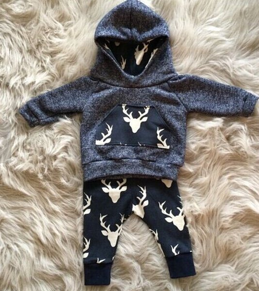 6 styles Newborn kids toddler baby boy girl deer hooded tops hoddie+pants outfits set clothes 0-2T top quality