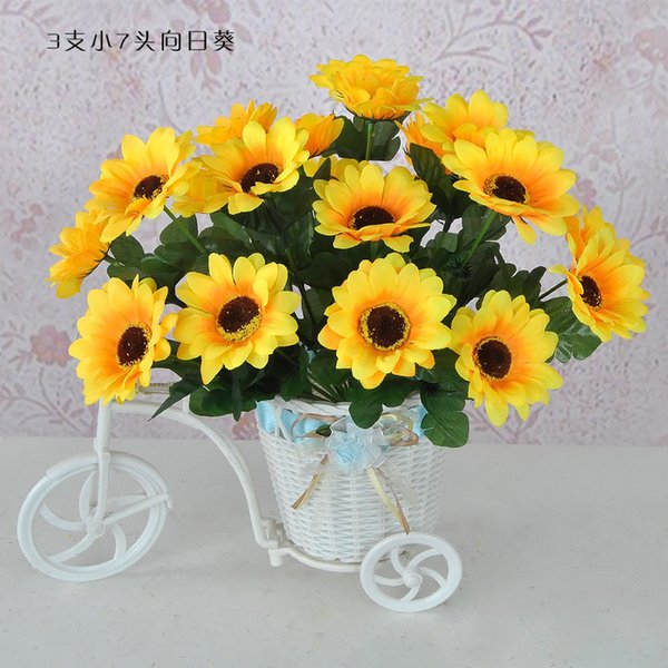 Silk Sunflower Artificial Bridal Flowers Bouquet Wedding Party Decorations Home Room Decor Fake Props High End Silk Cloth lin3010