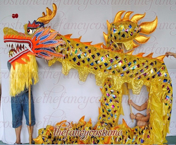 top popular Free Ship school home 10m size 5 golden plated dragon dance 8 player Folk mascot costume china special culture holiday party 2020
