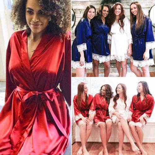 New Sexy Lace Satin Sleep Robe Lingerie Silk Robe Dress Pajamas Women Bathrobe Nightdress Nightgown Sleepwear Babydoll Underwear