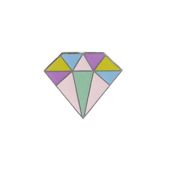1 PC Diamond Shaped Enamel Pins Badge Colorful Cute Brooch Denim Jacket Jewelry Gifts Brooches for Women Men Collar Lapel Accessories