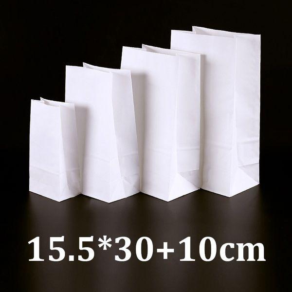 15.5x30cm eco friendly food grade white kraft bread packaging paper bags