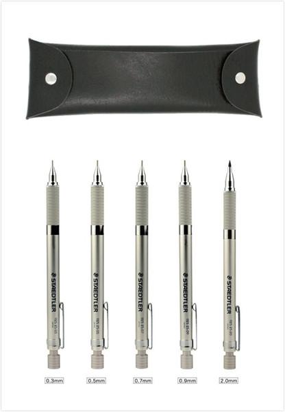 STAEDTLER 925 25 Graphite Drafting Mechanical Pencil Set 0.3/0.5/0.7/0.9/2.0mm 5 Pencils Leather Case Pack