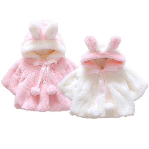 Newest Winter Warm Girl Clothes Newborn Kid Baby Girl Fur Coat Cloak Jacket Snowsuit Outerwear Clothes Age 0-4T