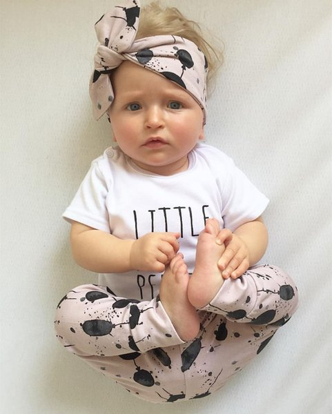 ffa233df5a889 Summer infant baby girl clothes cotton letters printed t-shirt + pants + headband  toddler 3pcs outfit newborn baby girl clothing