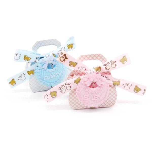 12pcs Baby shower Pink/blue Cute Cartoon bear paper candy bag gift candy box Kids birthday party DIY decorations supplies