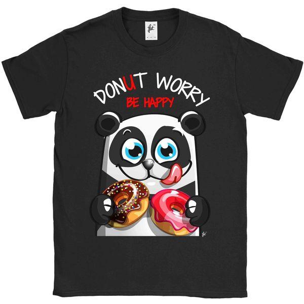 Girls T-Shirt Donut Worry Be Happy Smiling Panda With Doughnuts Kids Boys