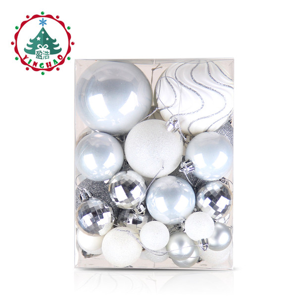 wholesale 50pcs Silver White Balls Christmas Decorations for home Christmas Tree Decor Craft Ball Ornaments Pendant Xmas Gifts 2019