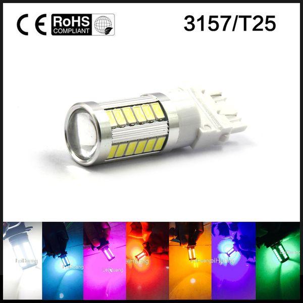 2x 3157 5630 33-Smd LED Kuyruk Stop Lambası 3057 3457 4157 Gündüz Çalışan LED Işık Beyaz Buz Mavi Pembe Yeşil Sarı Kırmızı