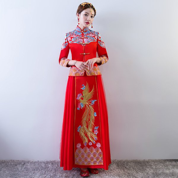 Chinese Traditional Dress Red Long Sleeve Cheongsam Embroidery Qipao Oriental Dresses Wedding Invitations Robe Dragon Costume