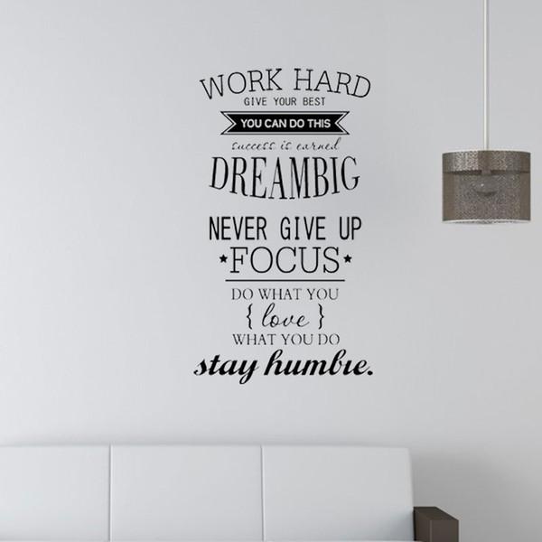 Décalcomanies de décoration de bureau - N'abandonnez jamais le travail, rêvez de grands autocollants muraux Inspirational Quote