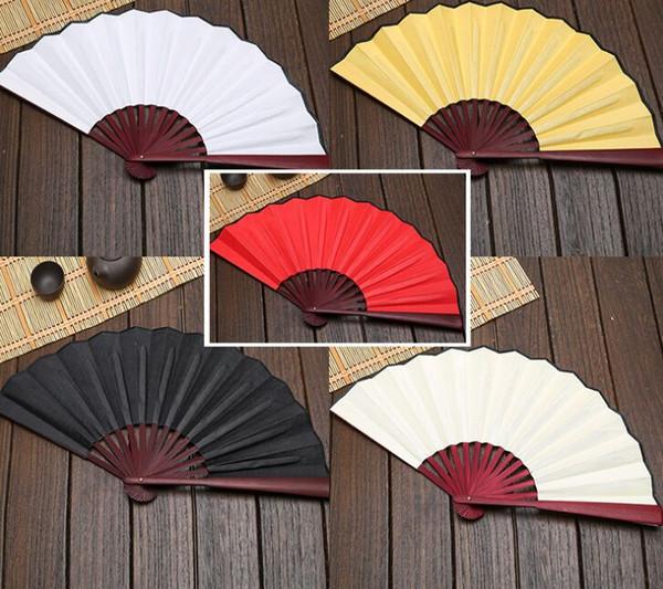 Large 33cm Folding Fan Black White Cloth Wooden Hand Fans DIY Craft Art Planting Ornaments Men's Outdoor Handfan