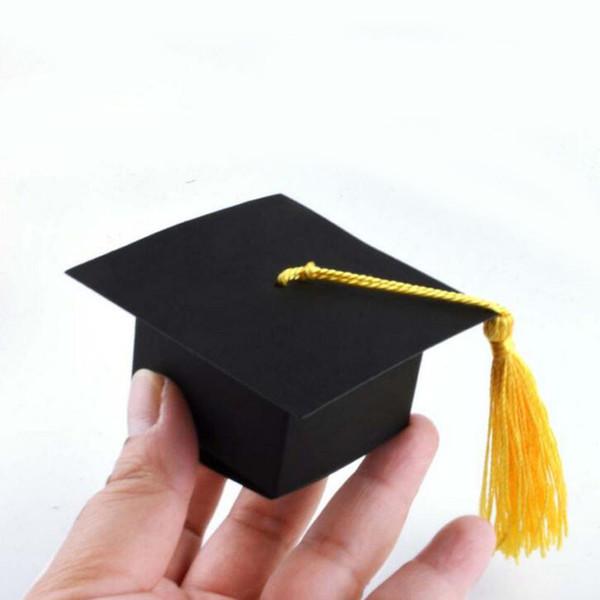 50 pçs / lote Doctor Hat Cap Caixa de Doces Graduação Celebração Do Partido Decoração Doces Favor Boxes Caixa de Embalagem Do Presente Da Graduação