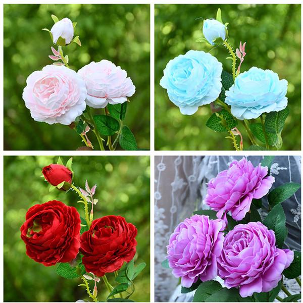 Decoração de Flores De Seda Artificial Deixa 3 cabeças de Rosas Longas Stem Veludo Rose Wedding Party Home Decorativa 038