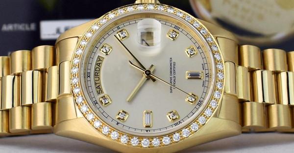 Frete Grátis Luxo 36mm 18kt Ouro Data Dia Presidente Prata 8 + 2 DIAMOND 18048 Movimento Automático Relógio dos homens Relógios de Pulso Esporte