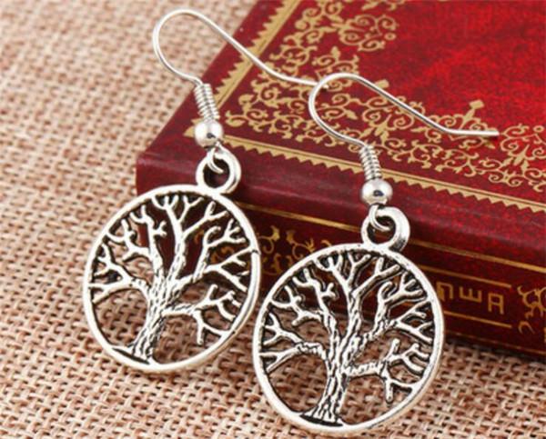 2000 pair Hayat Ağacı Küpe 925 Gümüş Balık Kulak Kancası Antika Gümüş Avize J147