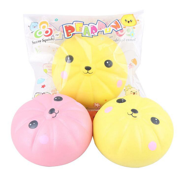 Cute Jumbo Bear Bun Squishy Toy Slow Rising Straps Pendant Soft Squeeze Scented Bread Cake Fun Kid Toys Novelty Items OOA4951