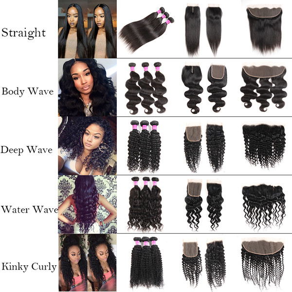 top popular Cheap Straight 8A Brazilian Human Hair Bundles with Frontal 100% Unprocessed Body Wave Virgin Hair Bundles with Closure Deep Wave Extensions 2021
