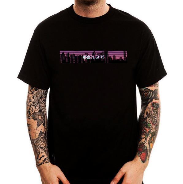 Luces de la ciudad Retro Vaporwave Camiseta negra de algodón estampada en negro para hombre Camiseta de manga corta Camiseta de estilo top