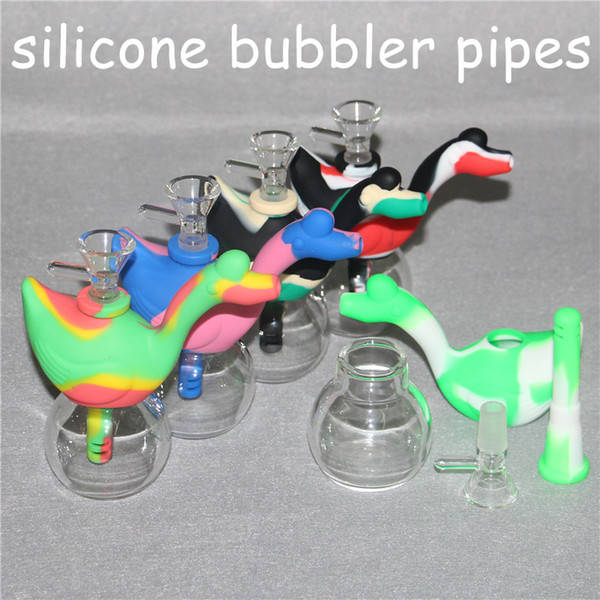 Newest Swan Silicone Smoking Pipe Oil Rig Dab Rigs Small Silicone Bong Colorful Mini Water Pipes Hookahs With Glass Bowl