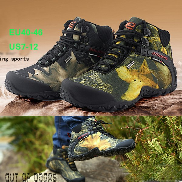 Free Shipping Outdoor Waterproof Mountaineering Shoes And Wear-resistant Camouflage Boots Resistant Breathable Climbing Shoes 40-46