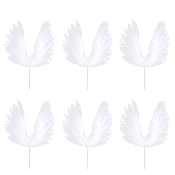 6 PCS/ Pack Cake Picks Birthday Wedding Cake Decoration Swan Feather Cake Cupcake Toppers Party Favors (White)