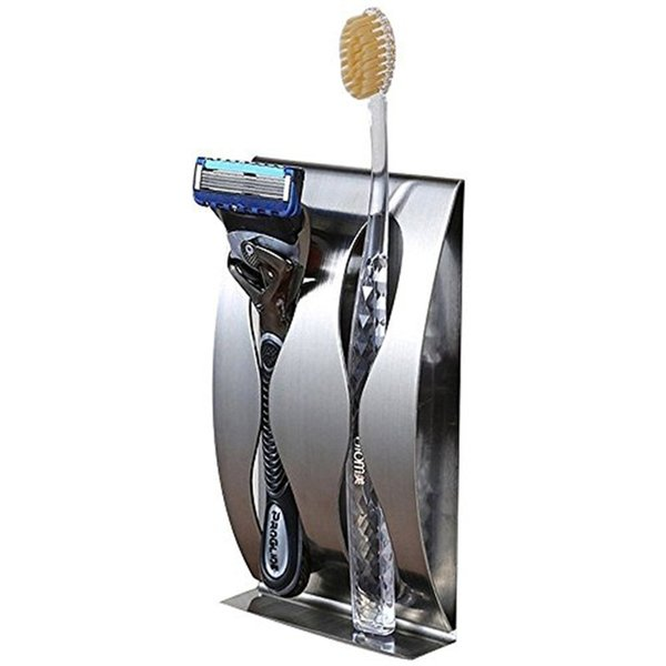 AKD Steel Toothbrush Holder Razor Organizer Self Adhesive Wall Mounted Stainless Steel Home Bathroom Storage Organization