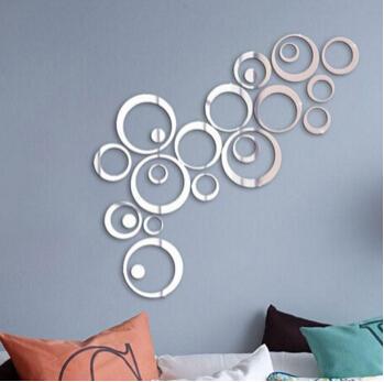 Acryl Spiegel Kreise Aufkleber 3D Wandaufkleber Kreative Abnehmbare DIY Kreisring Aufkleber TV Hintergrund Schlafzimmer Wohnzimmer Dekoration