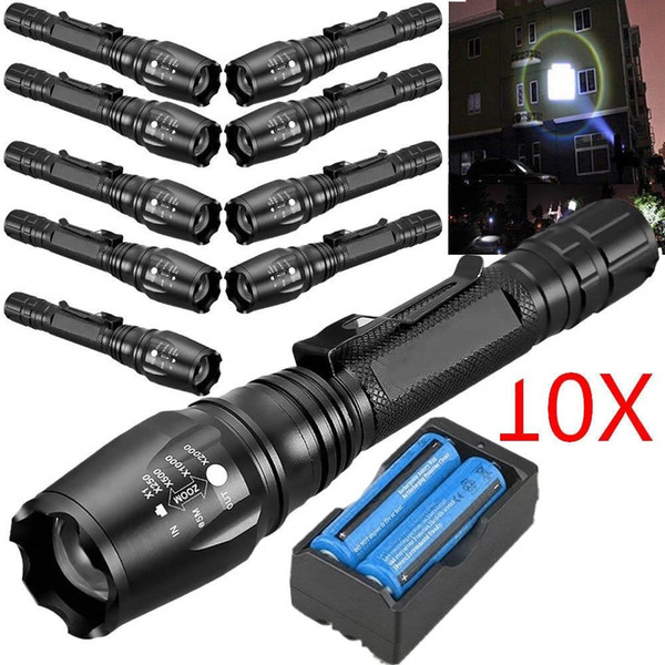 10x 3800LM T6 Led Flashlight 5 Modes S0S Zoomable Cree XM-L Tactical LED Torch Rechargeable + 18650 Battery + Charger
