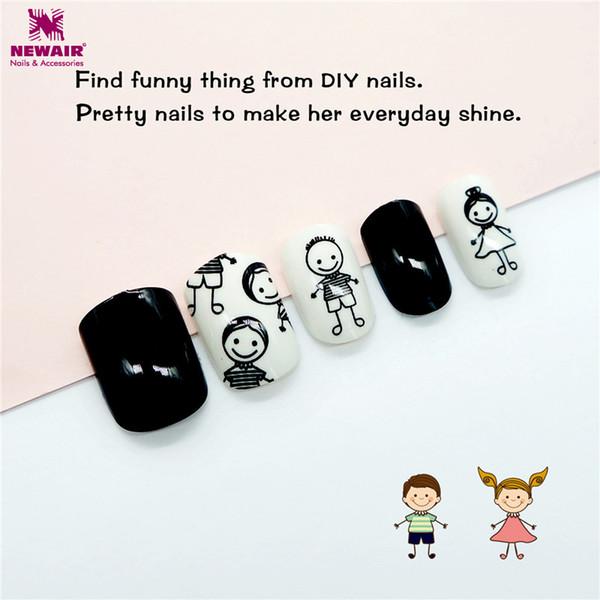 Children False Nail Tips Boy Girl Pattern Cartoon 24pc Full Cover Kids Black White Fake Nails Art for Little Girls