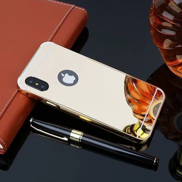 Solid color Slim Aluminum Metal Bumper for iphone X Original Luxury Mirror PC back cover for iphone X case for iphone X
